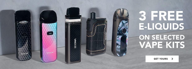 3 Free E-liquids on selected vape kits