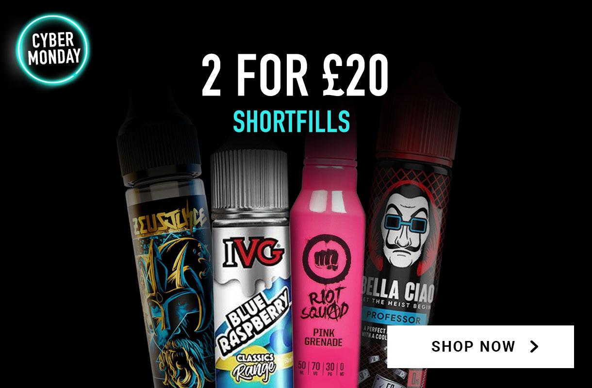 2 for £20 on shortfills